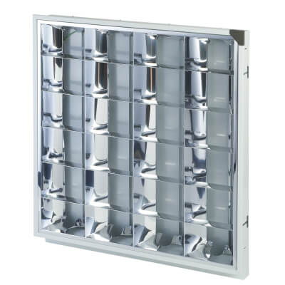 4 x18W CAT2 Louver High Frequency Modular - 600 x 600mm - White