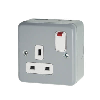 MK 13A 1 Gang Double Pole Metal Clad Switched Socket with Neon - Grey
