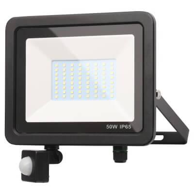 Forum Zinc Rye 50W Slimline LED Floodlight with PIR - Black)