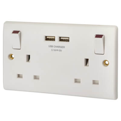 BG 13A 2 Gang Switched Socket with 2 x USB - 3.1A - White)