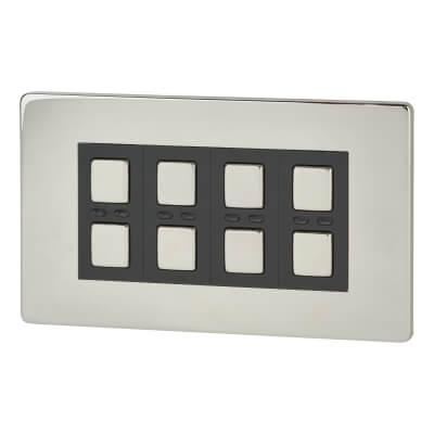 LightwaveRF 4 Gang Smart Dimmer Switch - Chrome)