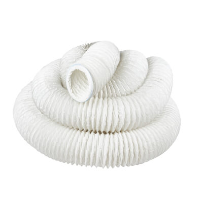 15000mm PVC Flexible Ducting - 4 Inch - White)