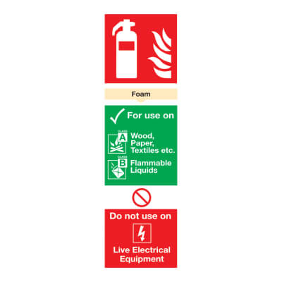 Fire Extinguisher Sign - Foam - 300 x 100mm)