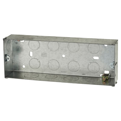 3 Gang Knockout Back Box - 35mm - Galvanised)