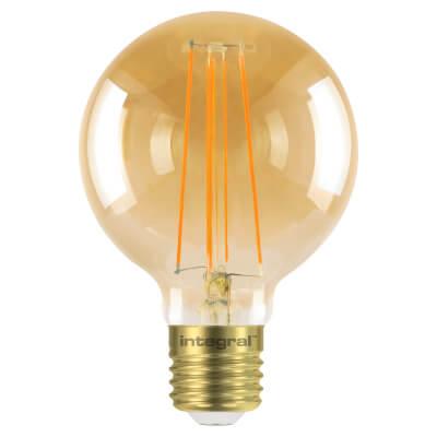 Integral LED 5W Sunset Vintage Globe G80 Filament Lamp - E27 - 1800K )
