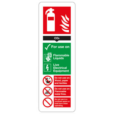 Fire Extinguisher Sign - CO2 - 300 x 100mm)