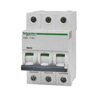 Schneider Acti 9 Isobar 32A 10kA Triple Pole 3 Phase MCB - Type C)