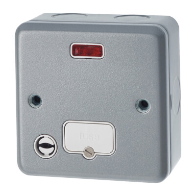 MK 13A 1 Gang Metal Clad Unswitched Connection Unit with Neon & Flex Outlet - Grey