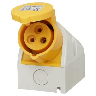 16A 2 Pin and Earth Surface Socket - Yellow