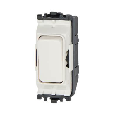MK 10A 1 Way Single Pole Grid Switch - White)
