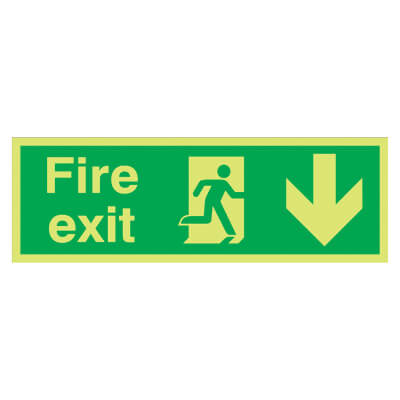 NITE GLO Fire Exit Running Man with Arrow - Down - 150 x 450mm - Rigid Plastic)