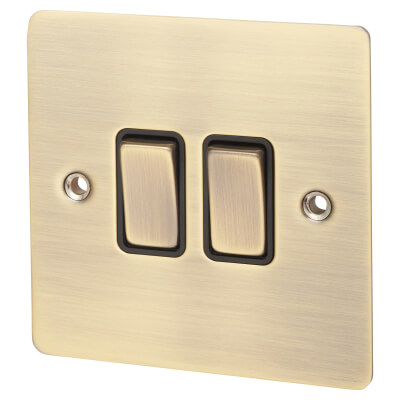 Hamilton 10A 2 Gang 2 Way Flatplate Switch - Antique Brass with Black Inserts)