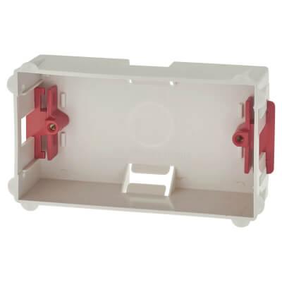 2 Gang Dry Line Box Flat Plate - 35mm - White