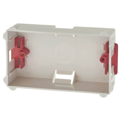 2 Gang Dry Line Box Flat Plate - 35mm - White)