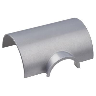 D-Line Box Adaptor Tee - 50 x 25mm - Clip-Over - Aluminium Effect)