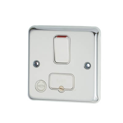 MK 13A 1 Gang Switched Fused Spur Unit with Flex Outlet - Polished Chrome)