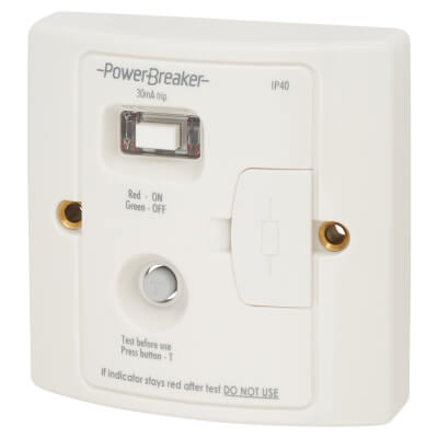 30mA Powerbreaker Fused Connection Unit with RCD - White
