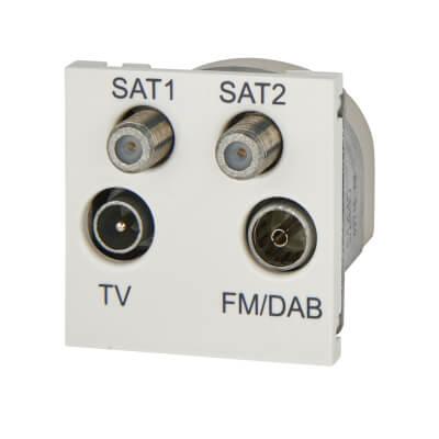 Deta Quadruplex Module TV/FM/2 x Satellite - White
