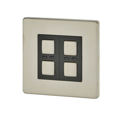 LightwaveRF 250W 2 Gang Dimmer Switch - Stainless Steel)