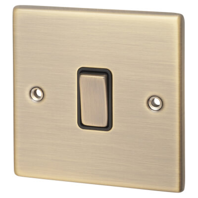 Hamilton 10A 1 Gang 2 Way Rocker Switch - Antique Brass with Black Inserts)