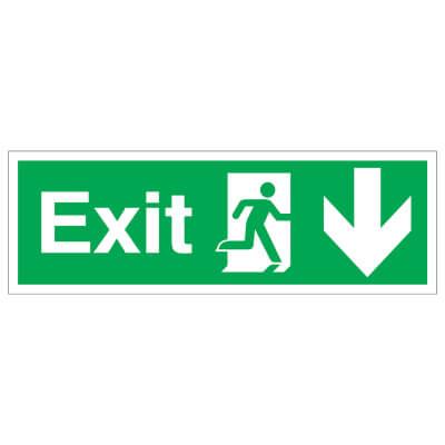 Exit Running Man with Arrow - Up - 150 x 450mm - Rigid Plastic)