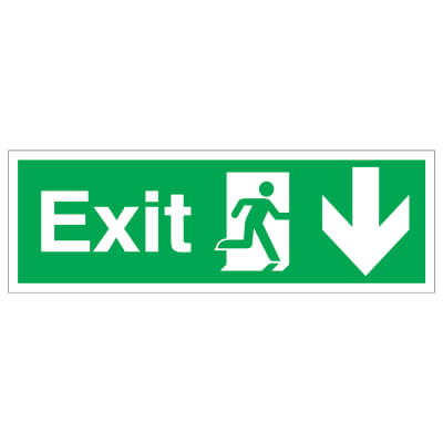 Exit Running Man with Arrow - Up - 150 x 450mm - Rigid Plastic)
