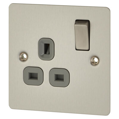 BG Flat Plate 13A 1 Gang Switched Socket - Brushed Steel with Grey Insert)
