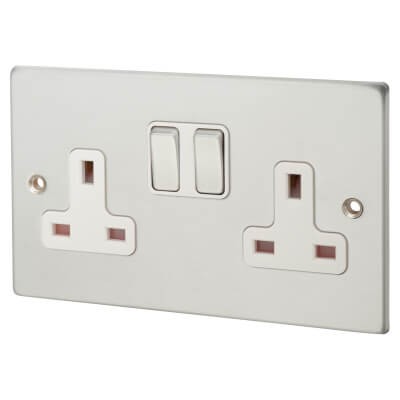 2  Gang 13A Switched Socket  - Satin Chrome with White Inserts)