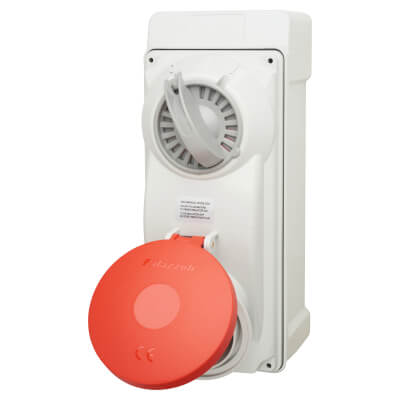 32A 4 Pin and Earth Surface Socket and Isolator - Red