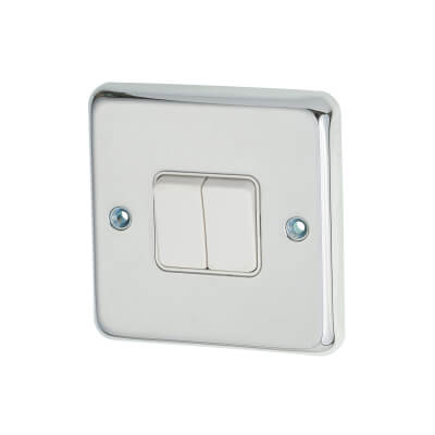 MK 10A 2 Gang 2 Way Single Pole Switch - Polished Chrome)