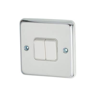 MK 10A 2 Gang 2 Way Single Pole Switch - Polished Chrome)
