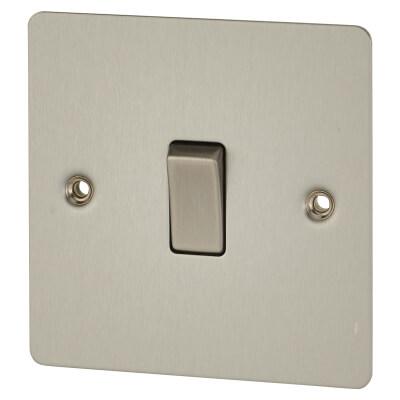 BG 10A 1 Gang Flat Plate Intermediate Switch - Brushed Steel