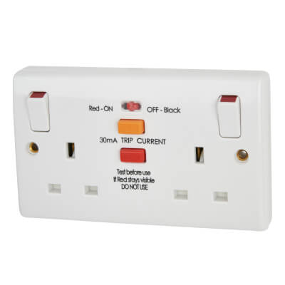 BG 13A 2 Gang Double RCD Socket - Plastic)