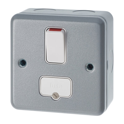 MK 13A 1 Gang Double Pole Metal Clad Switched Fused Connection Unit - Grey