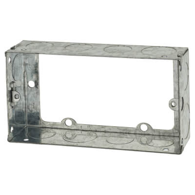 2 Gang Knockout Flush Extension Box - 35mm - Galvanised)